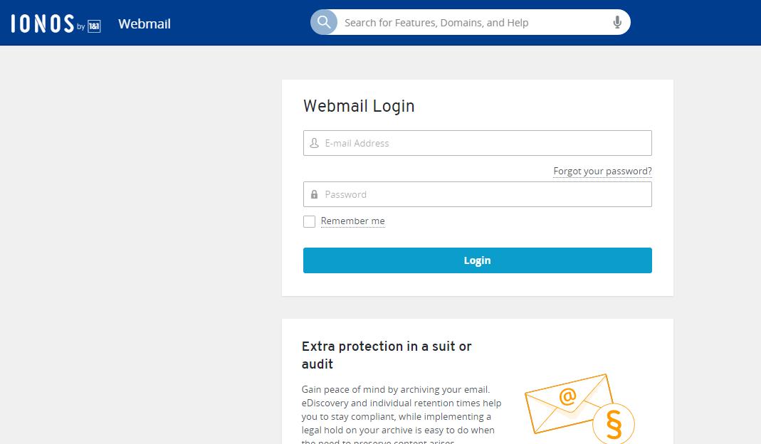 IONOS 1-1 Webmail Login